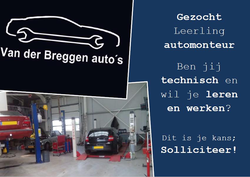 Vacature Leerling Monteur Van der Breggen auto's